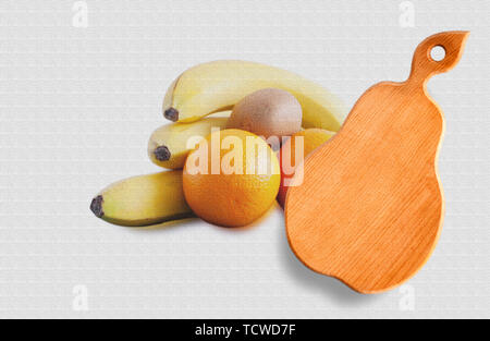 Cutting board isolated on the background of vegetables and fruits - Stock Photo