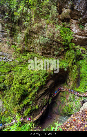 Altitude overlooking canyon walkway An aerial view of the valley - Stock Photo
