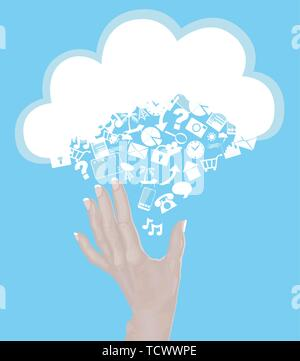 Hand Reaching for Cloud made of icons - cloud computing concept - Stock Photo