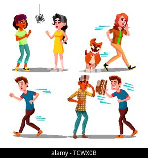 Color Design Afraid Character People Set Vector - Stock Photo