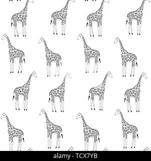 Vector seamless background of giraffes. Hand drawn illustration. Animals image. - Stock Photo