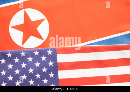 Concept of bilateral relations of USA and North Korea showing with flag - Stock Photo