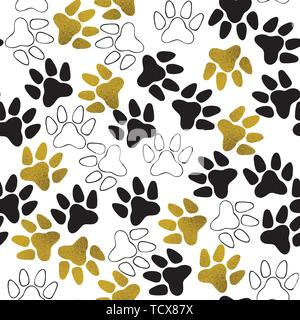 Seamless pattern with dog paw print. Vector illustration. - Stock Photo