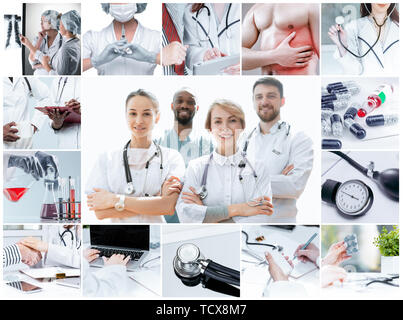 Healthcare people group. Professional male and female doctors posing at hospital office or clinic. Medical technology research institute and doctor staff service concept. Creative collage. - Stock Photo
