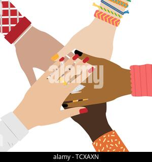 Hands of diverse group of people putting together. Concept of togetherness and teamwork. Girl hands with jewelry. White background. - Stock Photo