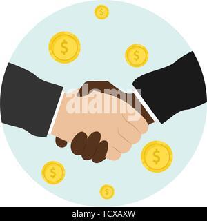 Business handshake. Bargaining. Business ethics. Monetary relations, benefit. Flat vector illustration - Stock Photo