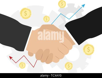 Business handshake. Bargaining. Business ethics. Monetary relations, benefit, trade. Flat vector illustration - Stock Photo