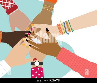 Concept of team work. Friends with stack of hands showing unity and teamwork, top view. People putting their hands together. Vector illustration. - Stock Photo