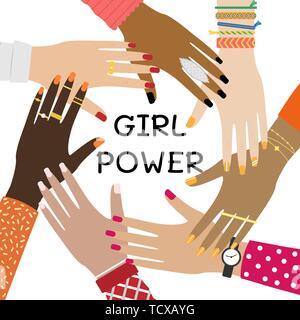 Hands of a diverse group of people putting together. Concept of togetherness and teamwork. Girl power. - Stock Photo