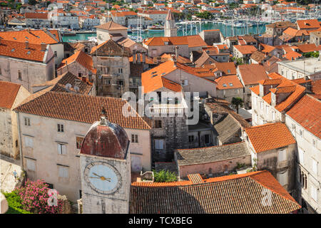 View from St. Laurentius Cathedral across the Old Town, Trogir, UNESCO World Heritage Site, Dalmatia, Croatia, Europe - Stock Photo