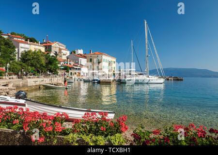 Fishing boats at the port, Valun, Cres Island, Kvarner Gulf, Croatia, Europe - Stock Photo