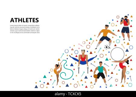 Set of athletic people (football player, boxer, basketball player, rhythmic gymnastics, gymnastics) doing various kinds of sports. Sport Concept. Vect - Stock Photo