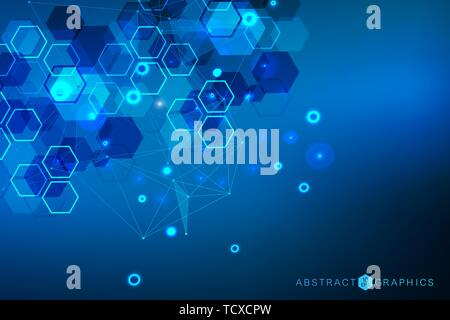 Hexagonal abstract background. Big Data Visualization. Global network connection. Medical, technology, science background. Vector illustration. - Stock Photo