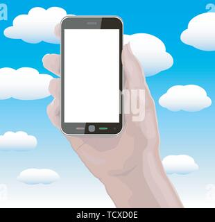 Hand Holding Smartphone Cellphone phone has Blank Screen with separate layer so you can easily add your own image