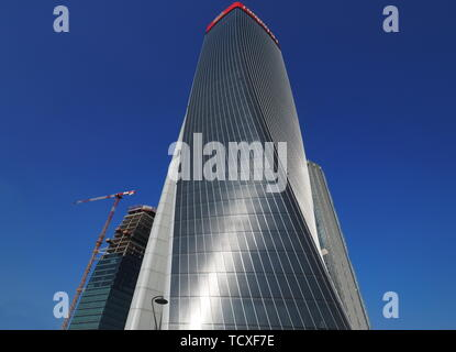 MILAN, ITALY, June 5, 2019 -Photo in new area 'City Life' complex in 3 Torri Milan place, Hadid tower. MILAN - Stock Photo