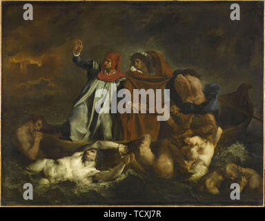 Dante and Virgil in hell. The Barque of Dante, 1822. Creator: Delacroix, Eugène (1798-1863). - Stock Photo