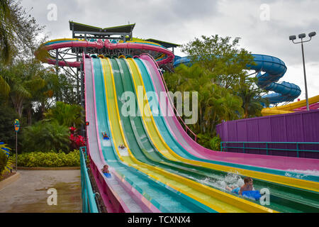 Orlando, Florida. April 07, 2019. People enjoying Taumata Racer. It is the biggest thrill in the park,at Aquatica . - Stock Photo