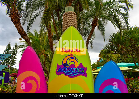 Orlando, Florida. April 07, 2019. Top view of Colorful Surfboards at Aquatica water park  (1) - Stock Photo