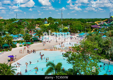 Orlando, Florida. April 07, 2019. Top view of people enjoying beaches , pools and water attractions at Aquatica (1) - Stock Photo
