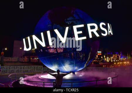 Orlando, Florida. February 05, 2019. Universal Studios world sphere at Citywalk in Universal Studios area. - Stock Photo