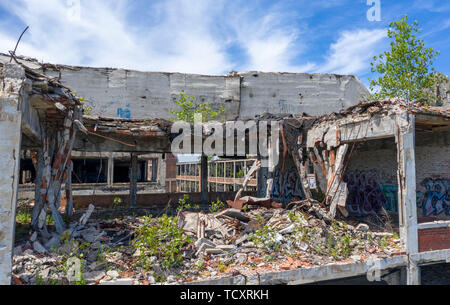 Detroit, Michigan - The ruins of the old Packard plant. Opened in 1903, the 3.5 million square foot plant employed 40,000 workers before closing in 19 - Stock Photo