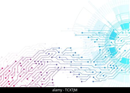 Abstract background with technology circuit board texture. Futuristic digital circle. Communication and engineering concept. Innovation technology - Stock Photo