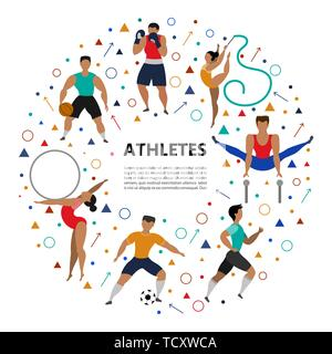 Set of athletic people (football player, runner, boxer, basketball player, rhythmic gymnastics, gymnastics) doing various kinds of sports. Sport Conce - Stock Photo