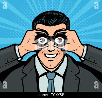 Businessman looking through binoculars. Pop art retro comic style. Business vector illustration - Stock Photo