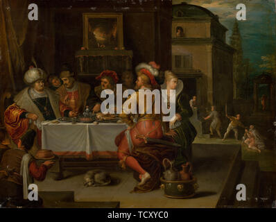 The Parable of the Rich Man and the Beggar Lazarus, 1615. Creator: Francken, Frans, the Younger (1581-1642). - Stock Photo