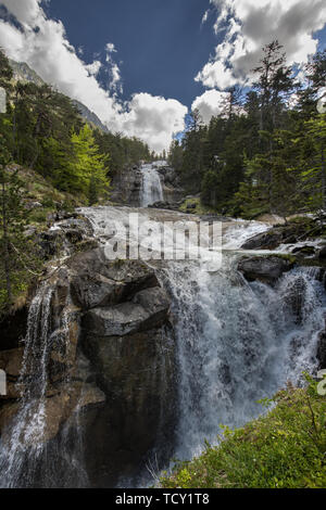 Europe, France, Pyrenees, 06-2019,  Waterfall near the Bridge of Spain, (Pont d'Espagne) Situated a 1500 meters in the national park of the Pyrenees m - Stock Photo