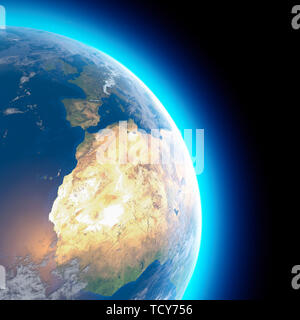 Physical map of the world, satellite view of North and central Africa. Europe. Globe. Hemisphere. Reliefs and oceans. 3d rendering - Stock Photo