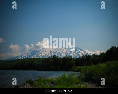 Panoramic view to Zhupanovsky volcano, Nalychevo national park,Kronotsky Nature Reserve, Kamchatka, Russia - Stock Photo