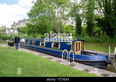 Canal boat UK - canal boat moored on the Kennet and Avon Canal, Bath Somerset England UK - Stock Photo