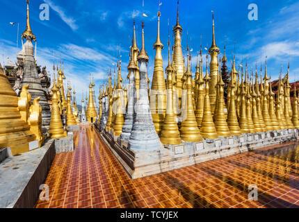 stupas of the Shwe Inn Dein Pagoda at Inle Lake Shan state in Myanmar (Burma) - Stock Photo