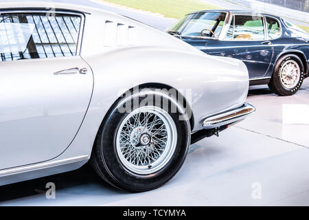 Brussels, Belgium, Jan 20, 2019: vintage silver Ferrari 275 GTB 1965 glossy and shiny old classic retro car at Brussels AutoWorld Museum, Exposition - Stock Photo