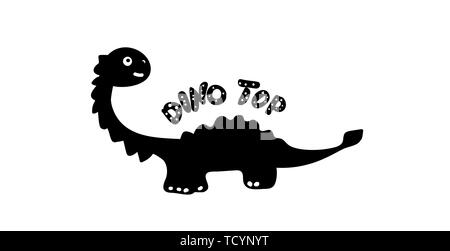 Children print silhouette of a dinosaur in the style of doodle. Black dino with the inscription Dino Top. Phrase, inscription, font. For prints on - Stock Photo