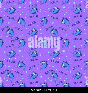 Sharks silhouettes seamless pattern. Blue smiling shark on a purple background with an inscription Ocean Shark and abstract geometric shapes. For - Stock Photo