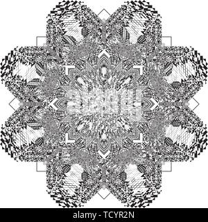 arabesque target star like octogonal inspired strukture abstract cut art deco illustration on transparent background - Stock Photo