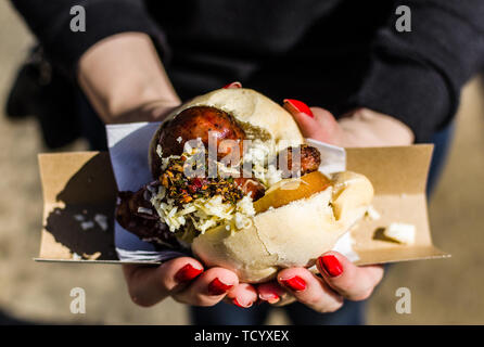 Argentina street food, choripan sandwich with chorizo, cheese, and chimichurri - Stock Photo