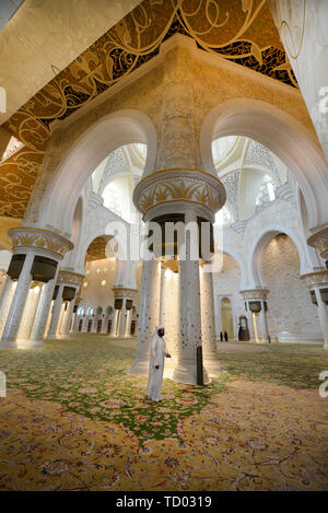 The interior of the beautiful Sheikh Zayed Grand Mosque in Abu Dhabi. - Stock Photo