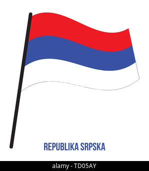 Republika Srpska Flag Waving Vector Illustration on White Background. Republika Srpska National Flag. - Stock Photo