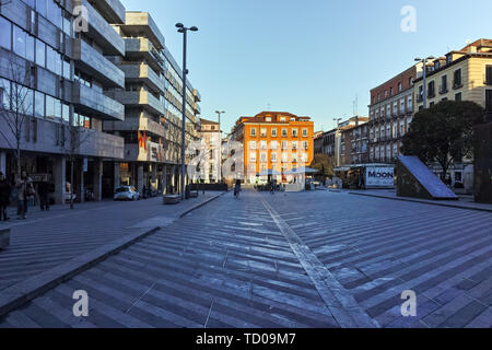 MADRID, SPAIN - JANUARY 24, 2018: Facade of typical Buildings and streets in City of Madrid, Spain - Stock Photo