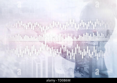 Candles chart diagram graph stock trading investment business finance concept mixed media double exposure virtual screen. - Stock Photo