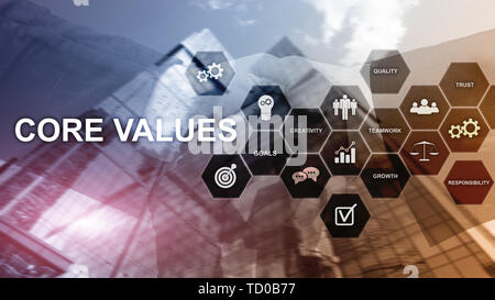 Core values concept on virtual screen. Business and finance solutions. - Stock Photo