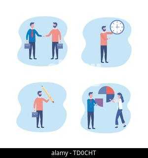 set of businesswomen and businessmen with suitcase and diagram information to teamwork strategy vector illustration - Stock Photo