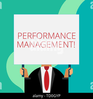 Handwriting text writing Perforanalysisce Management. Conceptual photo Improve Employee Effectiveness overall Contribution Just man chest dressed dark - Stock Photo