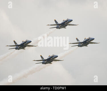 Smyrna, TN, USA. 08th June, 2019. The US Navy Blue Angels perform during The Great Tennessee Air Show, in Smyrna, TN. Mandatory Credit: Kevin Langley/Sports South Media/CSM/Alamy Live News - Stock Photo