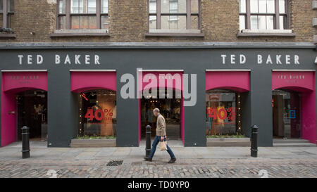 London, UK.  11 June 2019.  The exterior of the Ted Baker clothing store in Covent Garden.  The company has issued a profit warning, expecting pretax profits of £50m and £60m for the year to January 2020, blaming tough competition and falling consumer spending. Analysts had expected profits of about £70m.  Credit: Stephen Chung / Alamy Live News - Stock Photo