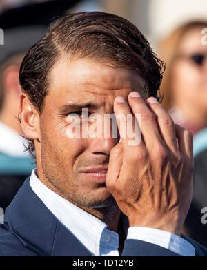 Manacor, Spain. 11th June, 2019. Spanish tennis player Rafa Nadal attends the graduation ceremony of Rafa Nadal Academy, students of American International School of Mallorca, in Manacor, Balearic Islands, Spain, 11 June 2019. Credit: CATI CLADERA/EFE/Alamy Live News - Stock Photo