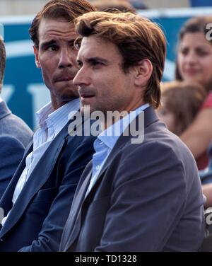 Manacor, Spain. 11th June, 2019. Spanish tennis players Rafa Nadal (L) and David Ferrer (R) attend the graduation ceremony of Rafa Nadal Academy, students of American International School of Mallorca, in Manacor, Balearic Islands, Spain, 11 June 2019. Credit: CATI CLADERA/EFE/Alamy Live News - Stock Photo